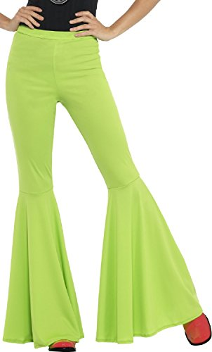 Ladies Green 1960s 1970s Hippie Hippy Kick Flares Woodstock Peace Carnival Hen Do Night Party Fancy Dress Costume Outfit Trousers (Green]()