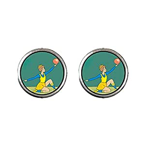 Chicforest Silver Plated Olympics female rhythmic gymnast perform with ball Photo Stud Earrings 10mm Diameter