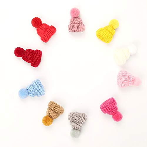 BUNNIEE 10PCS Girl Hair Clips Alligator Clips Handmade pom pom Furry Ball knit hats design Pinwheel Clips Barrettes for Baby Girl Teens Kids Babies Toddlers Christmas Gifts Present Boutique Fashion
