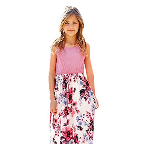 Princess Monogram Dress - ANJUNIE Fashion Toddler Baby Girl Kid Flower Print Princess Party Dress Outfits Maxi Dress(Pink,9)