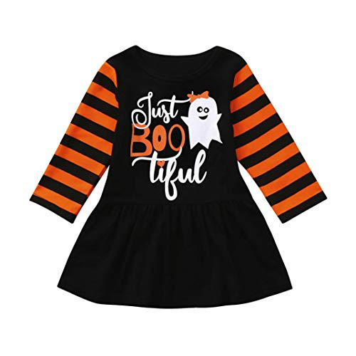 Newborn Infant Toddler Baby Girl Boy Clothes Winter Gifts Shirt Dress Long Sleeve Stripe Tops First Halloween Costumes Outfit Clothing 6-12 Months, Black]()