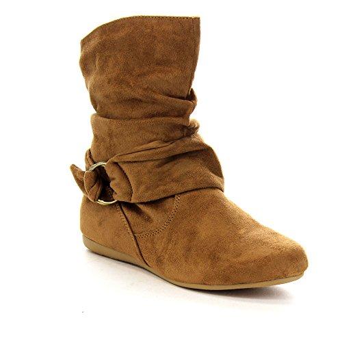 Women's Fashion Calf Flat Heel Side Zipper Slouch Ankle Boots Tan