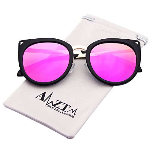AMZTM Cay Eye Oversized Women Polarized Sunglasses Fashion Mirrored Driving Shades (Purple Lens, - Eye Cay