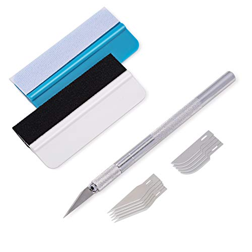 (WINJUN Precision Craft Hobby Utility Knife Set, Car Vinyl Wrap Tool Kit Include 2 PCS Mini Squeegee, 1 PCS Craft Knife with 5PCS #10 Curved Edge Blades, 5 PCS#11 Straight Edge Blades )