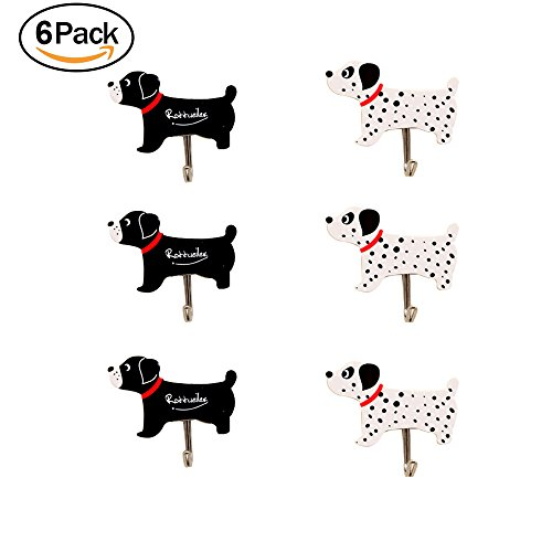 6pcs Self Adhesive Hooks Cloth Hanger -Decorative Wall Hooks Sticky Hooks for Keys,Hats,Towel, (6pcs Dog) (Dog Decorative Hooks)