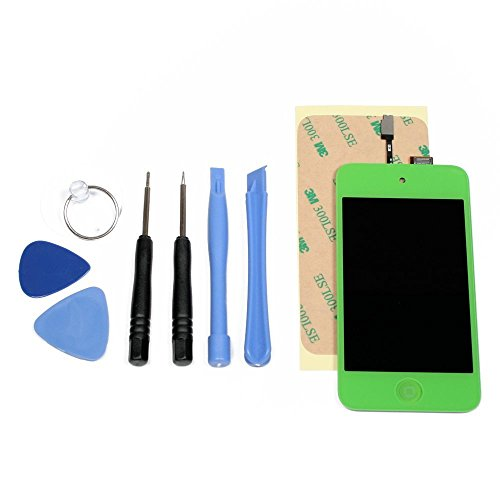 Green iPod Touch 4th Gen LCD Digitizer Glass Screen Assembly + Home Button, Tools & Adhesive