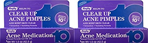 Benzoyl Peroxide 10 % Generic for Persa Gel 10 Maximum Strength Acne Medication Gel for Treatment and Prevention of Acne Pimples, Acne Blemishes, Blackheads or Whiteheads. 1.5 oz. per Tube Pack 2 Total 3 (Benzoyl Peroxide Face)