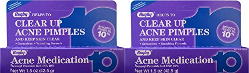 Benzoyl Peroxide 10 % Generic for Persa Gel 10 Maximum Strength Acne Medication Gel for Treatment and Prevention of Acne Pimples, Acne Blemishes, Blackheads or Whiteheads. 1.5 oz. per Tube Pack 2 Total 3 (Acne Jersey)