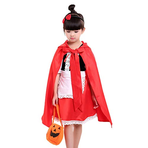 Appoi Toddler Kids Baby Halloween Clothes Girls Costume Fairytale Magic Dress Party Dresses+Cloak 2PC Set (suit for :6-7 years old, Red) by Appoi