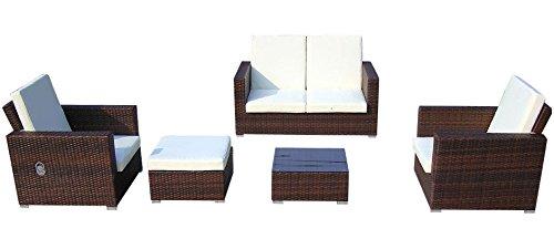 Baidani Gartenmöbel-Sets 10c00038.00002 Designer Lounge-Garnitur Move, 2-er-Sofa, 2 Sesse, 1 Hocker mit Auflage, 1 Couch-Tisch mit Glasplatte, braun