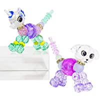 YUGUO Magic Animal Twist Bracelets for Girls - 2 Pack Unicorn & Puppy Collectible Deformed Pets Twist Bracelets for Kids, Make A Colorful Bracelets or Twist Into a Pet