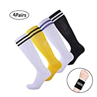 HARAVAL Kids Soccer Socks Knee High Tube Football Socks Towel Bottom Compression Socks 2 Packs (7-12 Years Kid Socks)