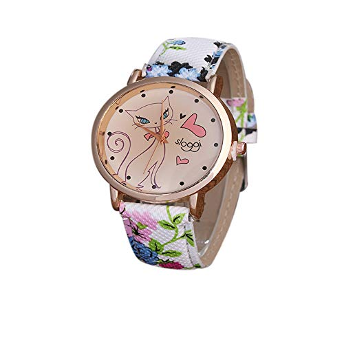 YunhuiM⌚Sloggi Women Watch Cute Cat Flower Leather Band Analog Quartz Movement Wrist Watch (Blue)