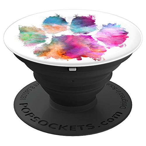 Paw Print Collapsible - Colorful Dog Paw Print Pink Blue Abstract Animal Lover Gifts - PopSockets Grip and Stand for Phones and Tablets