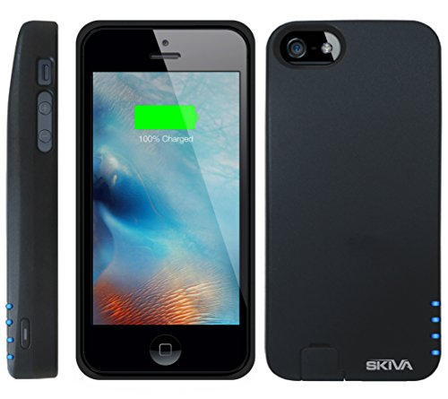 iPhone SE Battery Case, [Apple MFi Certified] Skiva PowerFlow 2000mAh iPhone SE / 5s Portable Charger External Rechargeable Protective Juice Power Bank Pack Cover [Black & Blue Sleeves] [Model:AP104]