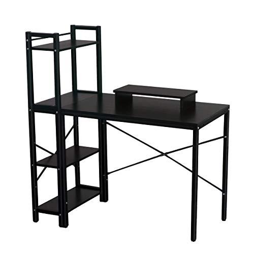 Computer Desk With Bookcase - Computer Desk, LASUAVY Computer Desk with Shelves, Multipurpose Study Desk with Bookshelf, Writing Desk with 4 Tier Bookcase for Home Office (Black Computer Desk with Shelves)