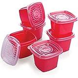 Conjunto de Potes Quadrados Pop com 6 Unidades Plasútil Vermelho