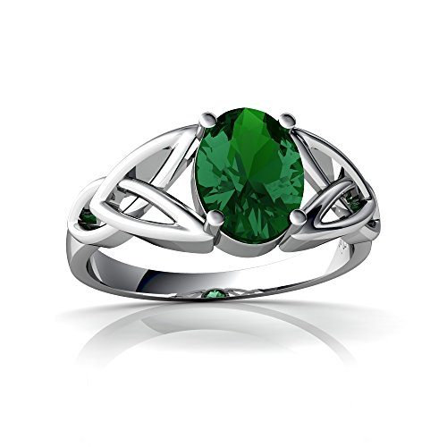 14kt White Gold Lab Emerald 8x6mm Oval Celtic Trinity Knot Ring - Size 8 (Gold Emerald 14kt 6x4)