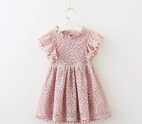 (Princess Dress,2019 Children's Clothing Women's Spring and Autumn New Dress Hollow Lace Hair Ball Fying Sleeves Children's Princess Dress (Pink, 5T))