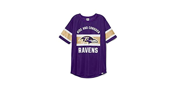 Victoria s Secret Pink Baltimore Ravens Bling Mesh T-Shirt X-Small Purple  at Amazon Women s Clothing store  267b7087f