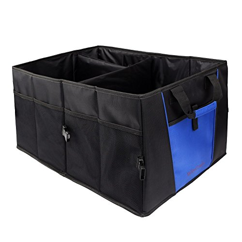 Car Trunk Organizer With Rope Handles,Compartment Board Foldable Great For Home,Car, SUV, Truck(Strong 1680D Polyester)-Blue(NEW Version)