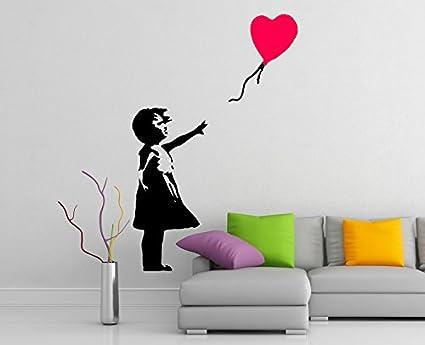 Decalcomanie Da Muro.41x60 Cm Decalcomanie Da Muro Di Banksy Vinile Girl A Cuore Palloncino Street Graffiti Adesivo Decorativo Artistico Casa Rimovibile Fai Da Te Da