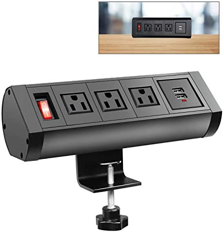 Desktop Clamp Power Strip Socket with USB Ports, Black Removable Mount Multi-Outlets with Switch, Power Charging Station