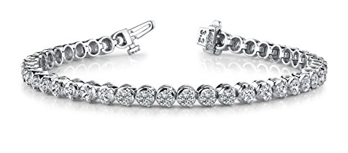 12 Carat Classic 3 Prong Diamond Tennis Bracelet 14K White Gold Value Collection by Diamond Manufacturers USA