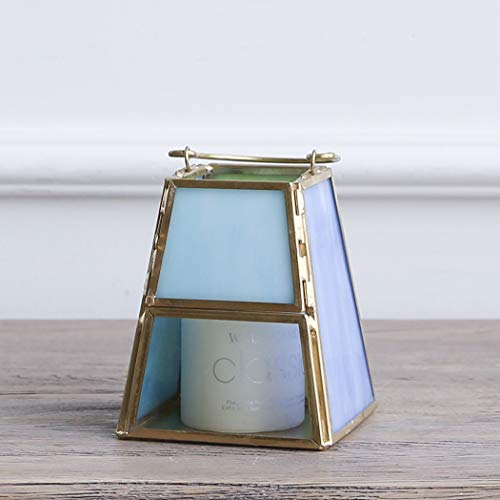 Cyl Home Candle Lanterns Tiffany Stained Church Glass Brass Frame Hanging Hurricane Tea Light Holder Lamp Centerpiece Accent Gift Wedding Housewarming Tea Party, Green Blue Tint, 4.3