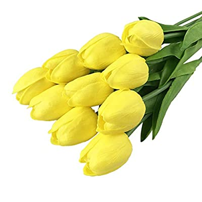 Euone_Home Wallpaper Tulip Artificial Flower Latex Real Bridal Wedding Bouquet Wedding Decor 30pcs,Easter Decorative for Bedroom: Home & Kitchen
