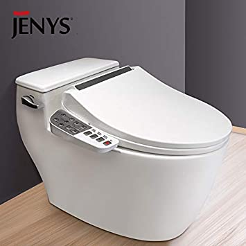 Jenys Smart Electric Toilet Bidet Seat With Side Key Panel Air Warm Dryer Stainless Steel Nozzle Nightlight Nozzle Oscillation Adjustable Heated Seat And Water Amazon Com