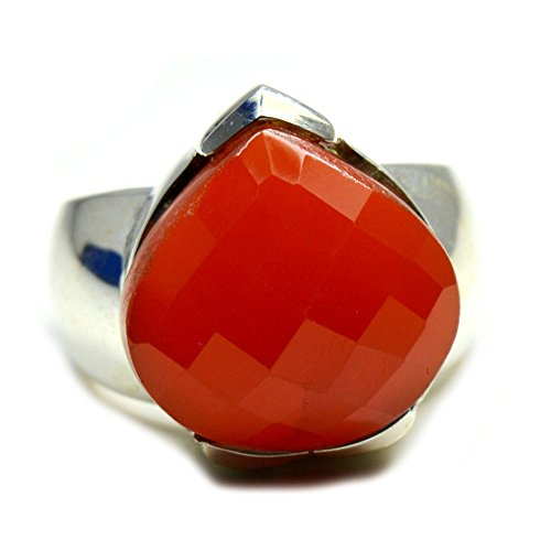 Gemsonclick Natural Pear Shape Red Onyx Ring Birthstone Handmade Sterling Silver Jewelry Ring Size 4-13