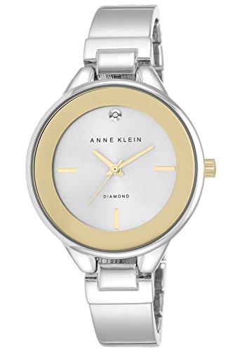 Anne Klein Women's Silver Bangle Bracelet Gold Tone Watch AK/2307SVTT