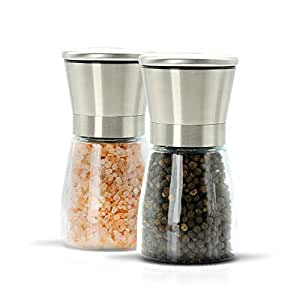 Salt and Pepper Grinder Set - Durable, Stainless Steel, Salt Grinder and Pepper Grinder - Adjustable Coarseness Ceramic Mechanism - Easy To Operate, Clean, Refill - Elegant Salt and Pepper Mill Set