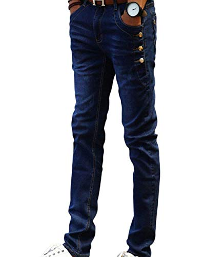 Eleganti Strech In Da Morbido Denim Fit Aderenti Slim Uomo Pantaloni Classiche Vintage Blau Ragazzi Jeans xn18PI