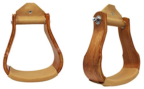Professional Equine Horse Saddle Wooden Stirrups Western 5-3/8″ Wide Wood Leather Tread 51186