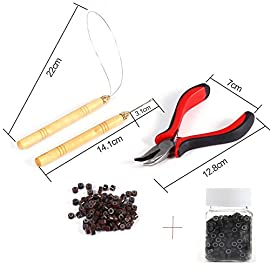 5 Pcs Kit Micro Ring Hair Extensions Tools: Pliers+Micro Pulling Needle+Loop Threader+100pcs Brown micro beads hair extensions+500pcs Black/Brown Silicone Nano Rings Beads