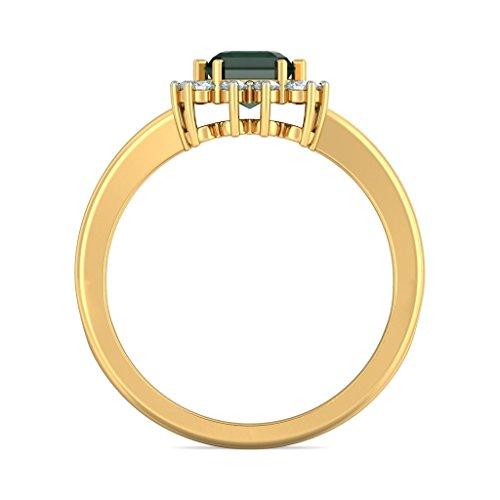 Or jaune 18K, 0.25CT TW Diamant Blanc (IJ   SI) Émeraude et diamant Bague