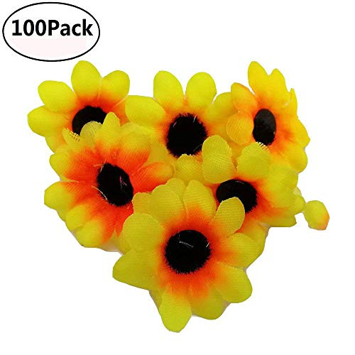 Fabric Daisy Flower Heads,100Pcs Artificial Gerbera Daisy Fake Flowers Heads Sunflower for Easter Bonnet DIY Cake,Wedding Party Decorations Flowers Craft (Yellow)