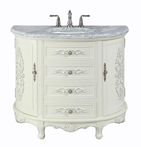 "42"" Benton Collection Verondia Vintage Style Vanilla Beige Bathroom Vanity ()"