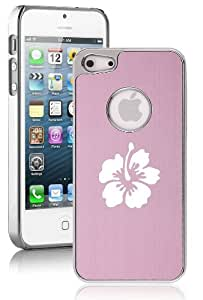 Apple iPhone 5c Aluminum Plated Chrome Hard Back Case Cover Hibiscus Flower (Pink)