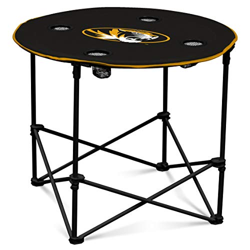 Missouri Tigers Collapsible Round Table with 4 Cup Holders and Carry Bag