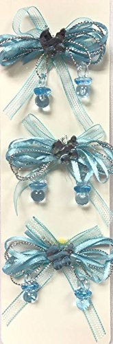Bows Bassinet - 6 Baby Shower Blue Bow Ribbon Charm with Bassinet Motive Favor Decoration