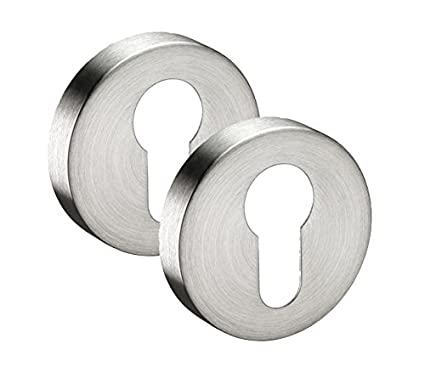 Euro Profile Keyhole Escutcheon Plates with Satin Stainless Steel Finish Pair