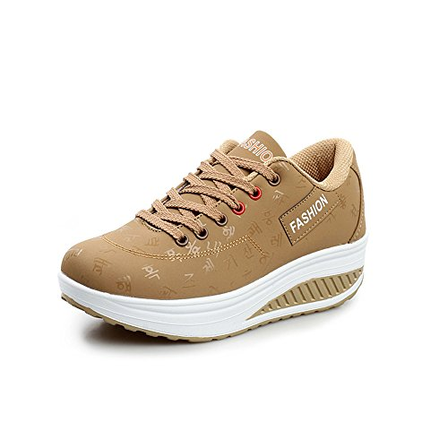 anbiwangluo Women Shoes Platform Sneakers Breathable Running Trainer Shoes Khaki M7O8JnNM
