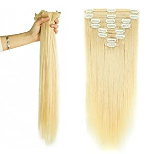 "16"" / 16 inch 130g Double Weft Clip in Remy Human Hair Extensions Grade 7A Quality Full Head Thick Long Straight 8pcs 18clips for Women Fashion and Highlighted, #60 Platinum Blonde"