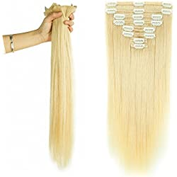 "Double Weft 100% Remy Human Hair Clip in Extensions Grade 7A Quality Full Head Thick Long Straight 8pcs 18clips for Women Beauty (22""/22 inch 160g,#60 Platinum Blonde)"