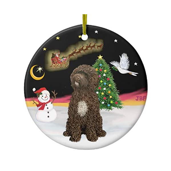 Night Flight Brown Portuguese Water Dog Ceramic Ornament 1