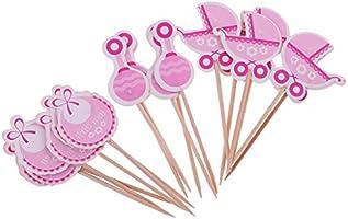 Gazechimp 18pcs Topper de Madera de Pastel Diseño con Niña/Niño Adornos de Cupcake de Fiesta de Bautizo de Bebé - Es una niña
