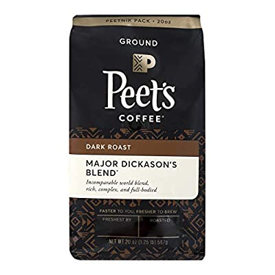 Peet's Coffee Major Dickason's Blend Dark Roast Ground Coffee 20 oz. Stand Up Bag (4 Pack)